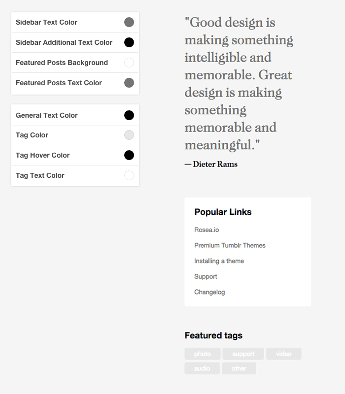 Tumblr Theme: Sidebar Customization
