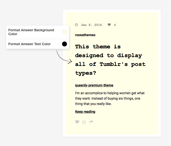 Tumblr Theme: Format Answer